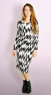 Monochrome Abstract Midi Dress